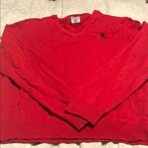 Red men's v neck sweater